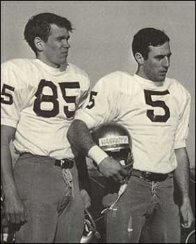 "Jim Seymour and Terry Hanratty, dubbed ""Fling and Cling"" by the media, at a practice session in 1966."
