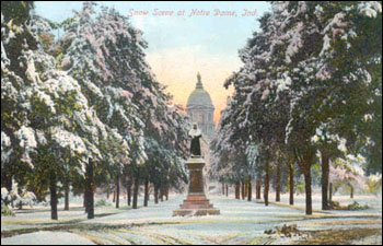 Snow scene from a vintage postcard circa 1910.