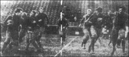 "Harry ""Red"" Miller of Notre Dame (far left) breaks into the open field in the monumental 1909 game at Ferry Field, Ann Arbor. (Detroit News-Tribune, November 7, 1909)"