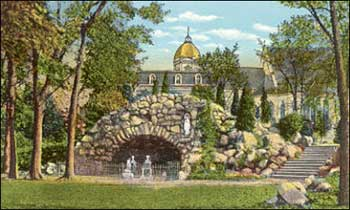 An early postcard from the Grotto, probably from the 1920s, with the Golden Dome and Sacred Heart in the background.