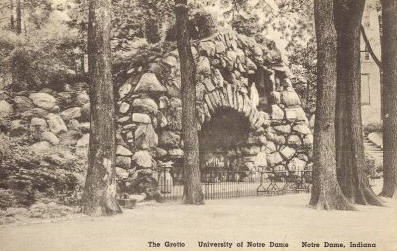 Very old photo of the Grotto, when trees still dotted the landscape.