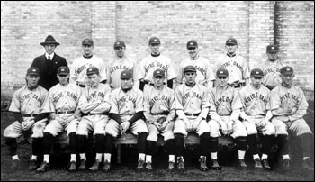 Coach Harper with an early Notre Dame baseball team.