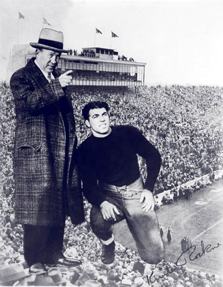 Joe with his coach and friend, Knute Rockne.  (From the University of Notre Dame Archives)